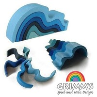 "Grimm's Large WaterWaves Stacker - Nesting Wooden Wave Blocks, ""Elements"" of Nature: WATER"