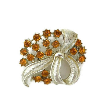 Vintage Orange Rhinestone Flower Brooch, Gold Tone Bow Pin, 1960s Jewelry