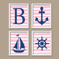 Girl Nautical Navy Blue Pink Wall Art Nursery Canvas Artwork Child Monogram Initial Sailboat Sea Anchor Ocean Set of 4 Prints Baby Crib