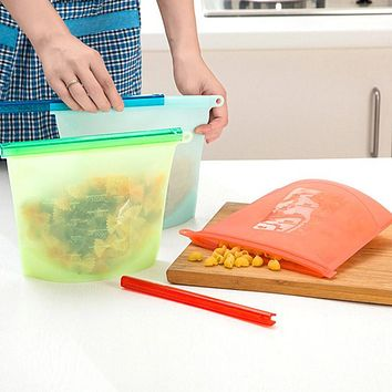 Reusable Silicone Vacuum Food Fresh Bags Wraps Food For Fridge Storage - Food Containers