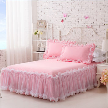 3-Pieces Solid Color Lace Luxury Bedding Sets King Size Queen Bed Sets Cotton Bed Sheet Set With an Elastic Band Pillow Case