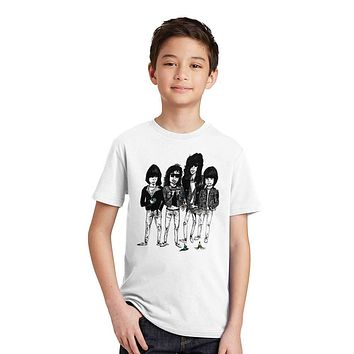 Jiangkao 2M-12T Print Modal Ramones Band T Shirt for Boys/girls Rock Punk T-Shirts for Children Baby Girls Clothing Summer Tees