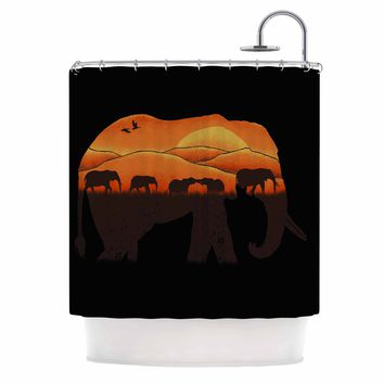 "Eikwox ""African Elephant"" Brown Orange Illustration Digital Animal Print Nature Shower Curtain"