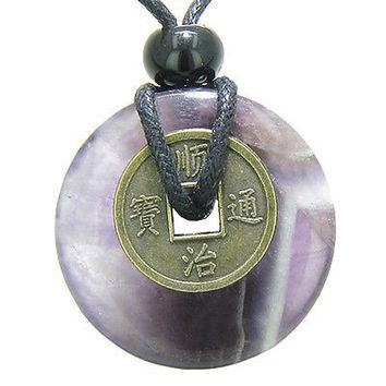 Antique Lucky Coin Safety Powers Amulet Amethyst Gemstone 30mm Donut Pendant Nec