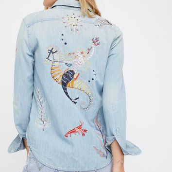 Free People Foxy Boxy in Buried Treasure Shirt
