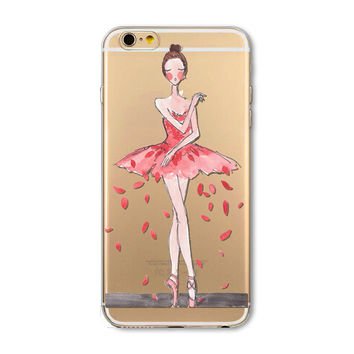 Ballet dancer mobile phone case for iPhone 7 7 plus iphone 5 5s SE 6 6s 6 plus 6s plus + Nice gift box 072701