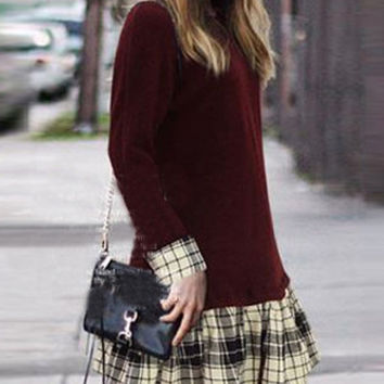 Wine Red Long Sleeve Plaid Peplum Hem Dress