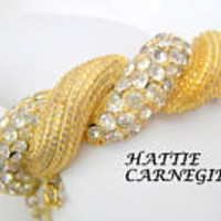 Hattie Carnegie Bracelet, Rhinestone Hinged Bangle, Gold Tone -  Clear Rhinestones