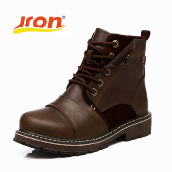 Jron British Retro Boots Men Genuine Leather Brown Motorcycle Boots Casual Shoes Male Fashion Buckle Quality Zapatillas Hombre