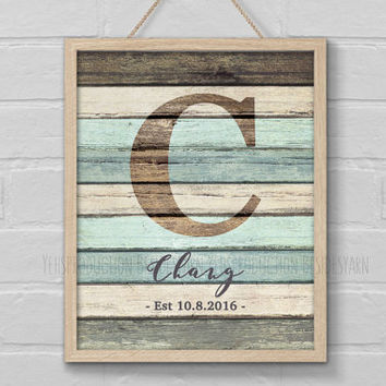 Rustic Family Name Sign, Monogram Print, Rustic Wood Nursery Initials, Teal and Gray Decor, Alphabet Print, Nursery Decor, Wedding Gift