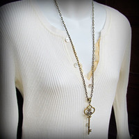 Large Skeleton Key Necklace in Antique Brass Finish, Ornate Vintage Style with Extra Long Chain