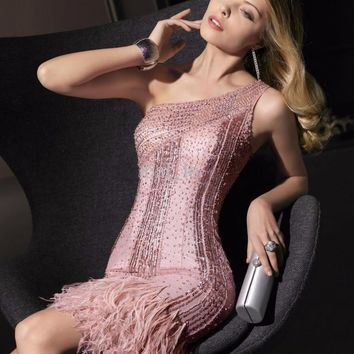 2016 high quality cocktail dress one shoulder with full hand-sewing beaded robe de cocktail short crystal feather dresses