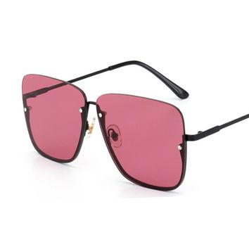 ROYAL GIRL Vintage Oversize Sunglasses Women Half Frame Fashion Brand Designer Male Sun Glasses Shades ss559