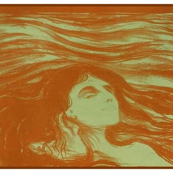 Woman on the Wave of Love by Symbolist Artist Edvard Munch Counted Cross Stitch or Counted Needlepoint Pattern