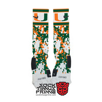 Custom Nike Elite Socks - University of Miami Hurricanes Custom Nike Elites - Miami Socks, Custom Elites, Miami Hurricanes, Hurricanes Socks