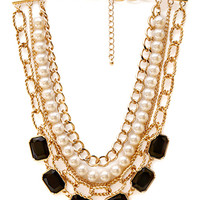 FOREVER 21 Street-Chic Layered Necklace Black/Gold One