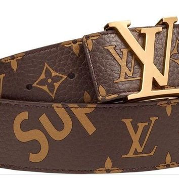 SUPREME X LOUIS VUITTON BROWN MONOGRAM BELT SIZE 90