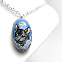 Cute Chinchilla Necklace, Pet Pendant, Angel Jewelry, Pet Memorial, Beach Stone Painting, Pet Loss Accessory, Blue Sky