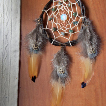 Small Dream Catcher with Moss Agate Stone and Opalite // Boho Hippie Apartment Dorm Decor
