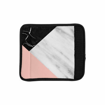 "Cafelab ""Marble Collage With Pale Pink ""  Gray Pink Luggage Handle Wrap"