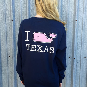 Vineyard Vines Long Sleeve Custom Tee- Texas- Blue Blazer