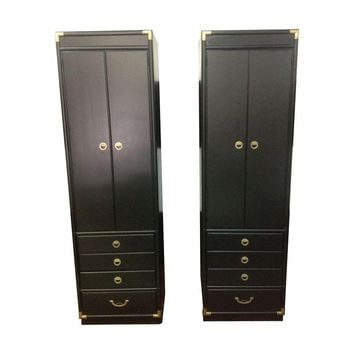 Pre-owned Vintage Black Campaign Cabinets By Drexel - A Pair