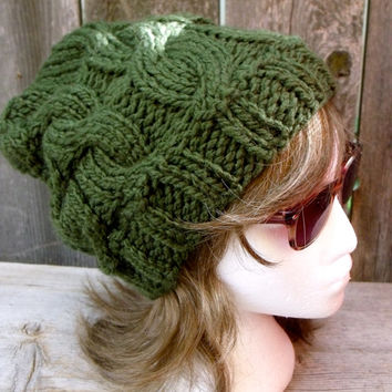 Women's Chunky Cable Knit Hat in Dark Forest Green, Slouchy Beanie, Women's Hat, Cable Knit Hat, Chunky Hat, Chunky Beanie, Dark Green,