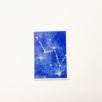 Original ACEO, Acrylic Cassiopeia Constellation Painting, Night Sky Art