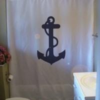 Shower Curtain anchor rope ship weigh away nautical by eternalart