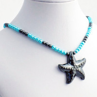 Hematite Starfish Pendant with Blue Glass Pearl and Hematite Necklace