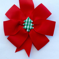 Christmas Hairbow- Red Christmas Bow- Girls Hair Accessories- Big Red Hair Bow- Christmas Tree Hair Bow- Holiday Hair Bow