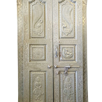 Indian Haveli Antique Door Panels Brass Metal Cladded India Furniture Hand Carved Architectural
