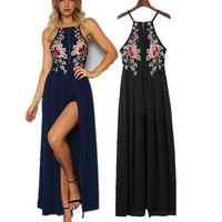 2017 Summer Spaghetti Strap Criss Cross Strappy Back Maxi Dress  with Floral Embroidery [10496861775]