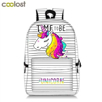 Colorful Unicorn Students Backpack Cartoon Panda Children School Bags Backpack for Teenager Girls Book Bag Women Laptop Backpack