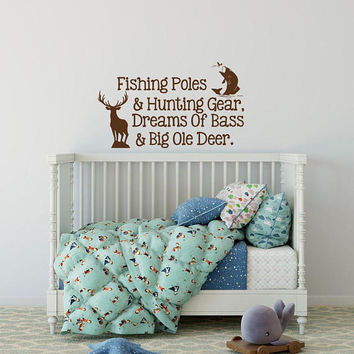 Wall Decal Quote Fishing Poles and Hunting Gear - Fishing Decal, Hunting Decal, Country Wall Decal, Woodland Nursery Boy Room Wall Decal K80