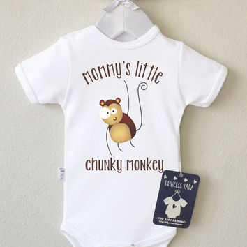 Animal Baby Clothes. Baby Shirt With Cute Monkey Print. Gender Neutral Long Sleeve Baby Clothes. Choose Your Color