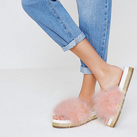 Pink feather metallic espadrille sliders - Sandals - Shoes & Boots - women