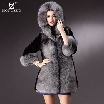 [HONGZUO] 2017 Winter New Fashion Long Faux Mink Fur Coat With Hooded Women Winter Thick Warm Fur Coats Female Jackets PC201