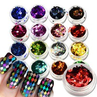 16Color/Sets Rhombus Rainbow Paillette Nail Art Dazzling Mixed Diamond Sticker Tips Nail Glitter Sequins Colorful Decor LS01-16