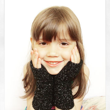 Girls Crochet Fingerless Gloves in Black Sparkle, vegan friendly, MADE TO ORDER.
