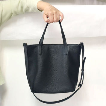 MINI DOMI - Small Top Zip Black Leather Tote Bag | Carryall