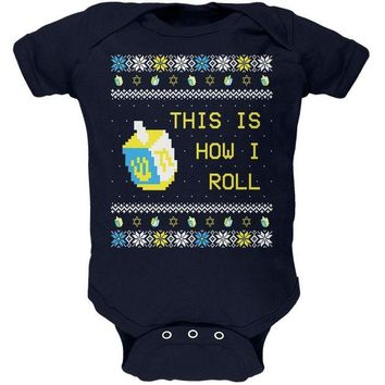 DCCKU3R Hanukkah This is How I Roll Dreidel Ugly Christmas Sweater Soft Baby One Piece