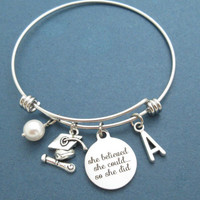 Personalized, Letter, Initial, Pearl, Graduation, Bangle, Bracelet, she believed, she could, so she did, Achievement, Goal, Gift, Jewelry