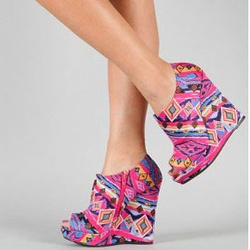 Pink Tribal Platform Wedge High Heel Aztec Print Hippie Shoes Open Toe Fashion