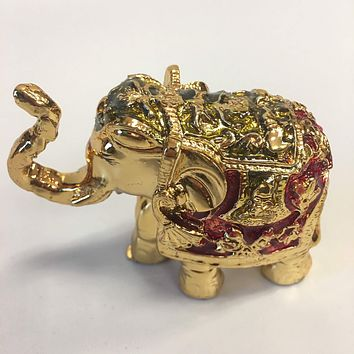 Stunning Gold Color Elephant Trunk Statue