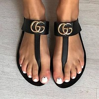 Gucci Leather Thong Sandal With Double #1505