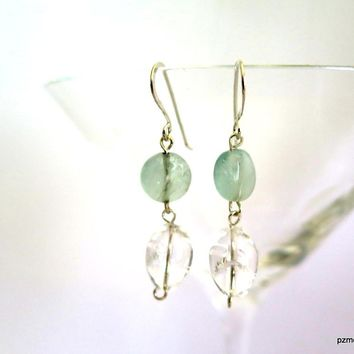 Rainbow Fluorite Drop Earrings with Quartz Crystal