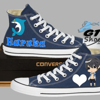 Hand Painted Converse Hi. FREE!. Anime. Cartoon. Haruka. Makoto. Nagisa. Rei. Handpainted shoes.