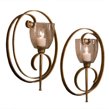 Dessau Home Ant.Gold Oval Scroll Sconce - Me3008