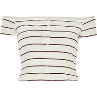 River Island Womens Cream stripe ribbed bardot top